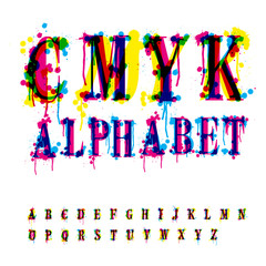 CMYk alphabet. Composition from unrecognized different letters a