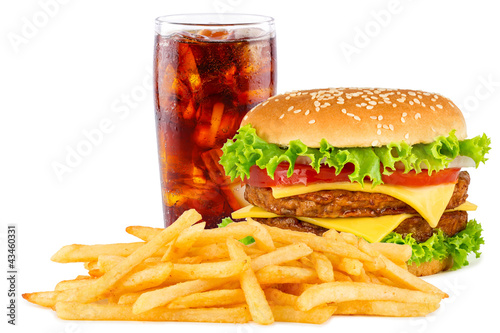Leinwandbild Motiv Cheeseburger with cola soda drink