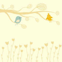 Greeting card with two birds on the floral tree