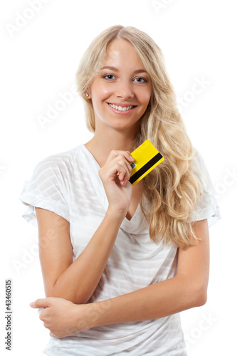 blonde woman holding yellow credit card