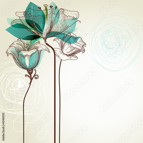 In de dag Abstract bloemen Retro floral background