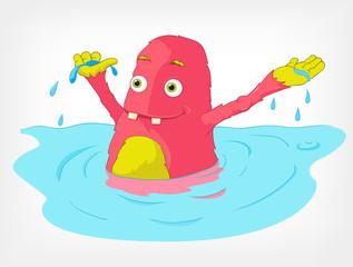 Funny Monster. Swimmer.
