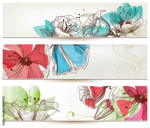 In de dag Abstract bloemen Floral banners vector