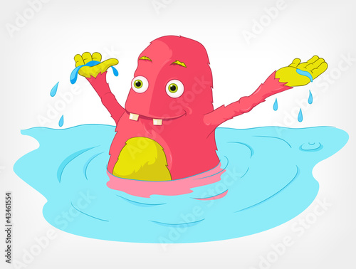 Funny Monster. Swimmer.