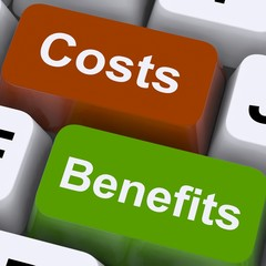 Costs Benefits Keys Showing Analysis And Value Of An Investment