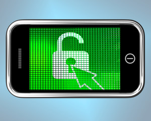 Unlocked Padlock Mobile Phone Shows Access Or Protection