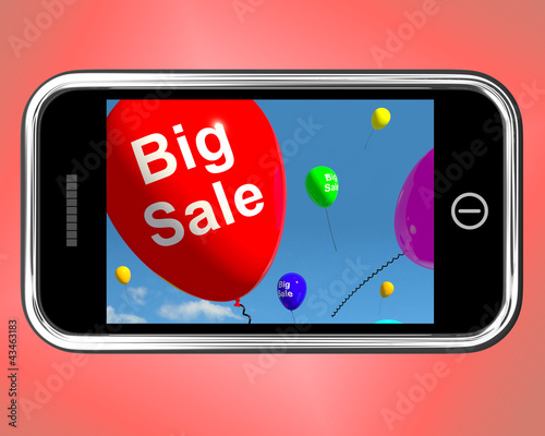 Big Sale Balloons On Mobile Phone Shows Promotions And Reduction
