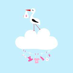 Stork On Cloud Clothes Line Baby Symbols Girl