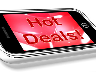 Hot Deals On Mobile Screen Represents Discounts Online
