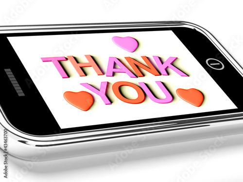 Thank You And Hearts Message As Thanks Received On Mobile