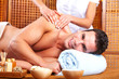 Young man in Spa massage salon.