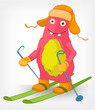 Funny Monster. Skiing.