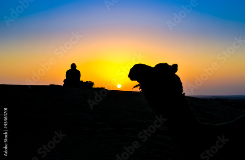 A woman and a camel at sunset on the Thar Desert, India