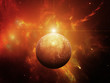 Planet with Nebula and Red Dwarf Star