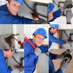 Montage of plumber working on sink