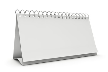 Blank standing desk calendar isolated on white.