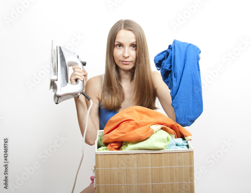 young woman wth laundry, housework