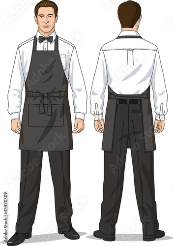 The waiter in an apron