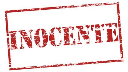 """Carimbo desgastado - palavra """"inocente"""""""