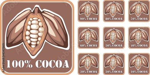 Cocoa seal with percentages from 10 to 100
