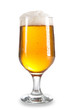 Beer in a glass over white
