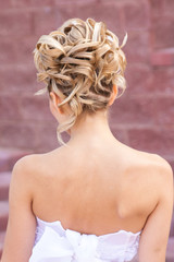 Back view of elegant wedding hairstyle