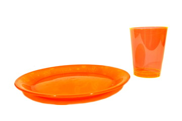 Orange Plate and Cup