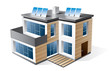 Isolated 3d vector icon of modern family house with wood facade.