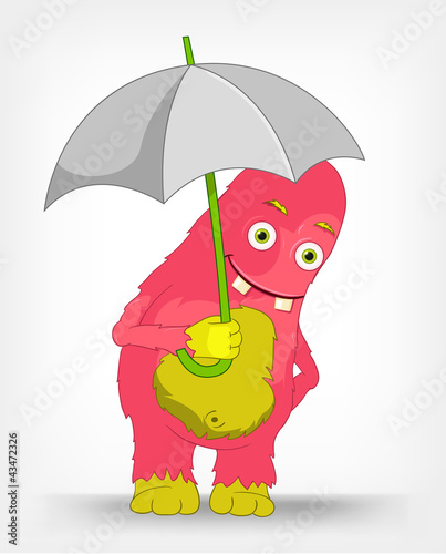 Funny Monster. Under umbrella .