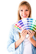 Woman selecting a color to paint