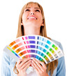 Woman with a color guide