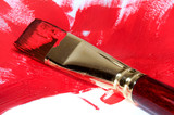 Brush painting with red