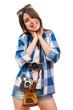 Portrait of a happy young tourist