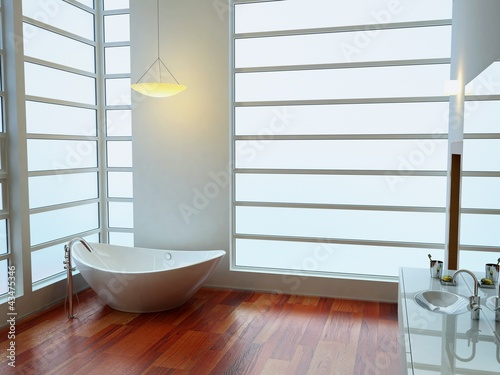 bagno, vasca, moderno, appartamento rendering 3d interni
