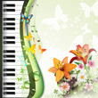 Piano keys with roses and butterflies