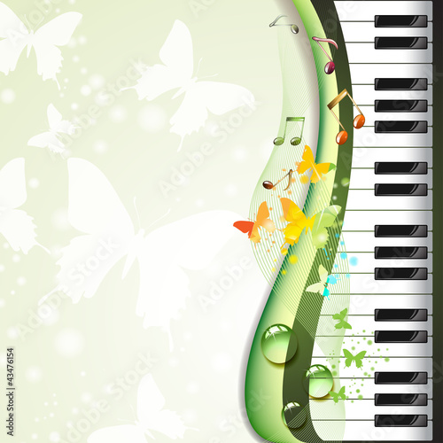 Piano keys with butterflies and drops