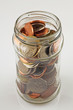 saving jar with uk coins