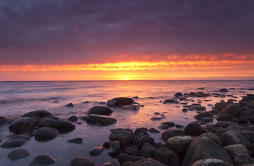Sunrise over Kalmar sund, Sweden, wide angle photo