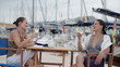 Happy glamour female friends relaxing in marina, steadicam shot