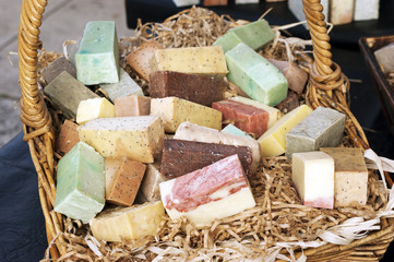 Handmade soap bars in a basket