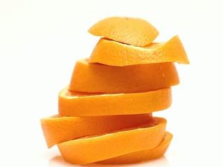 Rotating side view orange slice