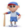 3d Baseball kid stands ready to play
