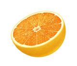 juicy fresh water drops of orange on white background
