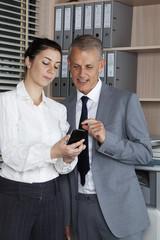 secretary shows a new phone