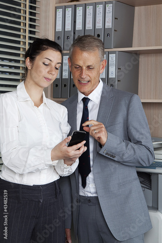 secretary shows a new phone