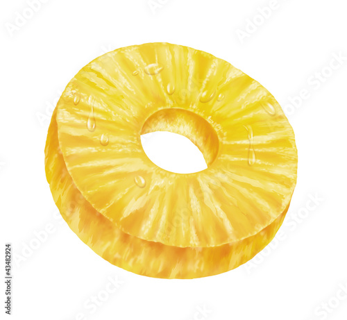 juicy fresh slice of pineapple on white background
