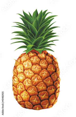 juicy fresh water drops of pineapple on white background