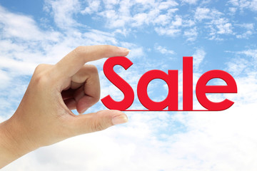 Hand holding sale sign on background sky
