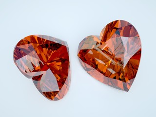 two ruby heart with perfect refraction
