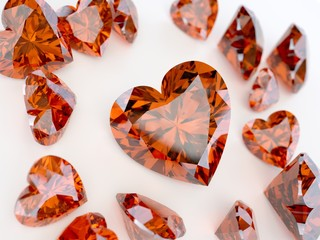 a lot ruby precious stone in the form of heart